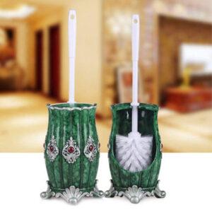 Cepillo baño con original portaescobilla color verde y perlas