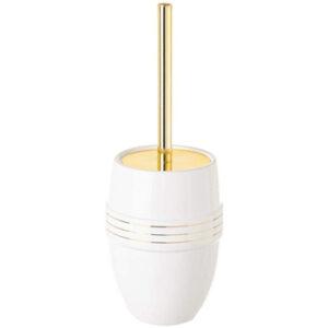 Elegante escobilla de baño dorada con escobillero ceramica