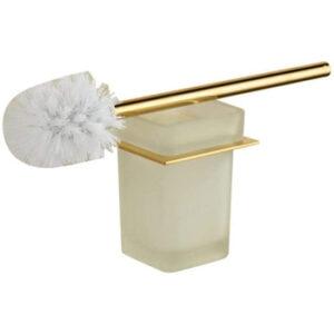 Escobilla Wc dorada con escobillero de Vidrio Esmerilado
