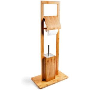 Escobillero aseo de pie con portarrollos de madera