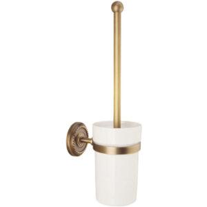 Escobillero para wc de cristal con detalles dorados
