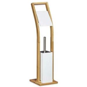 Escobillero portarrollos de pie RelaxDays de madera color marrón y blanco