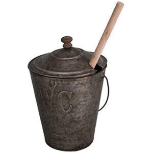 Escobilla Vintage con tapa wc Cepillo Inodoro de zinc con vaso de vidrio